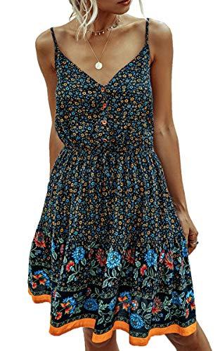 Spec4Y Damen Kleider Kurz Blumen Sommerkleid Swing V Ausschnitt Ärmellos Minikleid A Linie Skatekleid 192 Tibetische Zyan Small