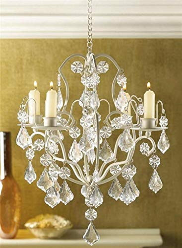 AK Energy 4 Plate Candle Holder Ivory Baroque Hanging Acrylic Crystal Chandelier Light Wedding 30' Hanging Chain Long