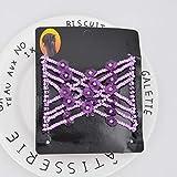 TSEINCE Frauen-Weinlese-Blumen-Metallkorn-dehnbares Haar kämmt doppelte magische elastische Haarnadeln-Haar-Krawatten-Zusatz-Lavendel