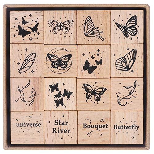 UCEC 16 Pieces Butterfly Stamp, Wooden Rubber Stamps, Cute Vintage Craft Stamps Set for DIY Scrapbooking Card Making Decoration, Butterfly Wings & Stars