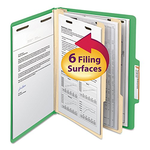 Top Tab Classification Folders, Two Dividers, Six-Section, Green, 10/Box