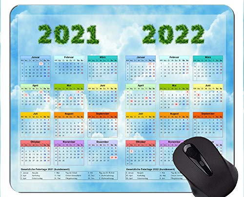 Calendar for 2021-2022 Years with Holidays Mouse Pad with Locking Edge,Landscape Made of Clouds Rubber Mouse Pad