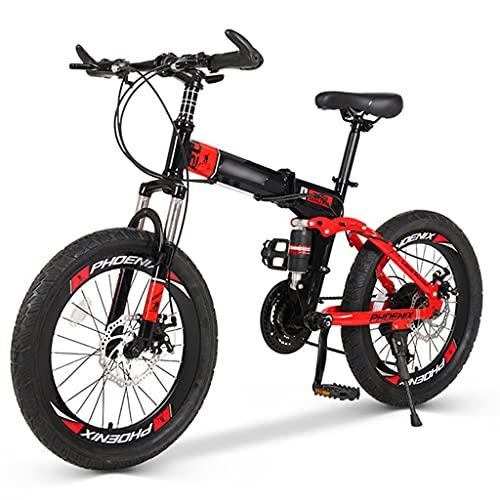 Bicicletas Triciclos Montaña Plegable Velocidad para Hombres Y Mujeres De 20 Pulgadas Estructura De Acero con Alto Contenido De Carbono (Color : Black+Red, Size : 20 Inches)