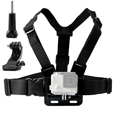 TEKCAM Chest Harness Mount Adjustable Chest Strap Belt with J Hook Compatible with Gopro Hero 8 7 6/AKASO/Apeman/DBPOWER/Campark/VanTop/Dragon Touch 4k Action Cameras Accessories (Camera Not Included)