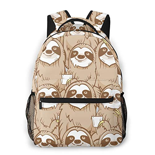 Sloth Faces Print Backpack Printing Laptop Waterproof Anti-Theft Casual Backpack Bag Usb Charging Port Backpack Unisex