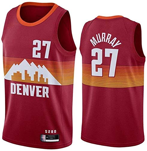 Jersey de Baloncesto de los Hombres - NBA Denver Nuggets # 27 Jamal Murray Jersey - Malla sin Mangas clásica Secado rápido Camisa Transpirable Chaleco (Color : Red, Size : Medium)