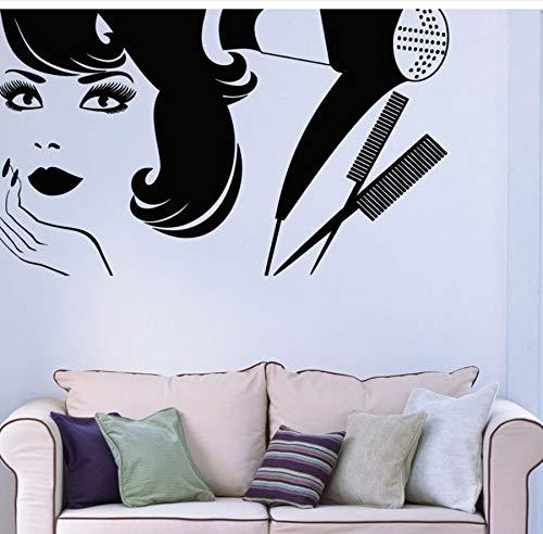 zwyluck 3D-muurstickers, haardroger, styling, vinyl, muursticker, voor schoonheidssalon, dames, barberie, wanddecoratie, zelfklevend, 95 x 57 cm