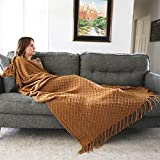 Graced Soft Luxuries Throw Blankets Woven Soft for Sofa Couch Decorative Knitted Farmhouse Fringe Blanket (Cashew, Large 50' x 60')