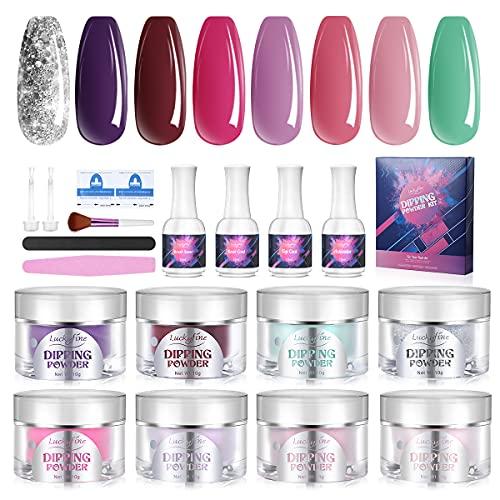 Luckyfine Dipping Powder Kit - 8 Colors, Professional Nail Powder Acrylic...