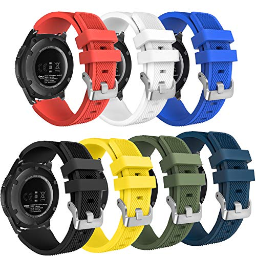 FITLI Compatible with Gear S3 Frontier Bands, 22mm Replacement Bands Quick Release Pin Compatible with Samsung Gear S3 Frontier / Classic / Galaxy Watch 46mm, 7 Pack