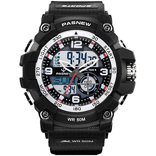 TWCAM Acero Cuero Pulsera Hombre- Reloj Electrónico Resistente Al Agua Reloj Deportivo Grande Dial Hombres, N1 Plata Negro