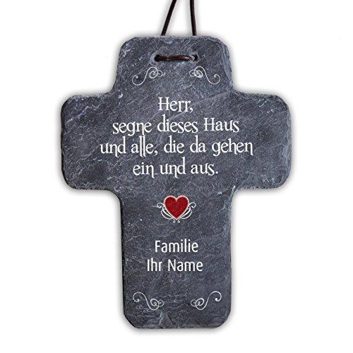Cera & Toys® Kreuz aus Naturschiefer - Haussegen - mit Druck des Namens