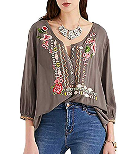 Mansy Womens Embroidered Tops 3/4 Sleeve Bohemian V Neck Loose Mexican Peasant Shirts Tunics Blouses Gray