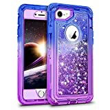 WESADN Case for iPhone 6 Case, iPhone 6s Case for Girls Women Cute Glitter Protective 3D Luxury Bling Sparkle Heavy Duty Full Body Protection Shockproof Gradient Cover for iPhone 6 6s 7 8,Blue Purple