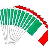 Anley Italienische 5x8 Zoll Handgehaltene Mini-Flagge mit 12' weißem, festem Mast - Italien Stick Flagge, lebendige Farbe und lichtecht - 5 x 8 Zoll Handgehaltene Stick Flaggen mit...