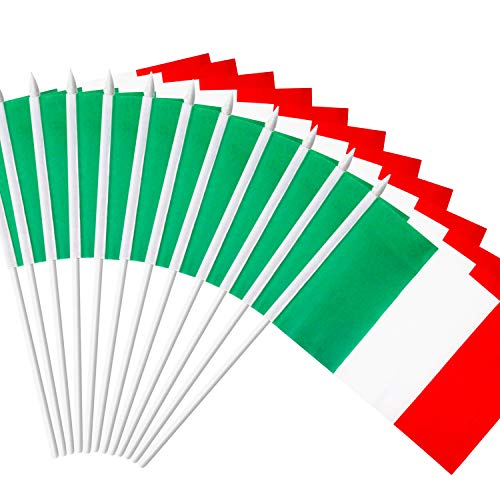 Anley Drapeau en Bâton de l'Italie, Mini Drapeau Italien de Main 5x8cm avec Bâton Blanc Solide de 12cm - Couleur Vive & Résiste à la Décoloration - 5x8cm avec Toupie de harpon (1 Douzaine)