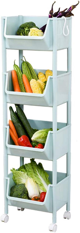 YANZHEN Wire Shelving Kitchen Shelf Multi-Layer Food Basket Toy Storage Rack Fruit Vegetables Storage Shelf Plastic, 2 Size (color   bluee, Size   35x27.5x121.5cm)
