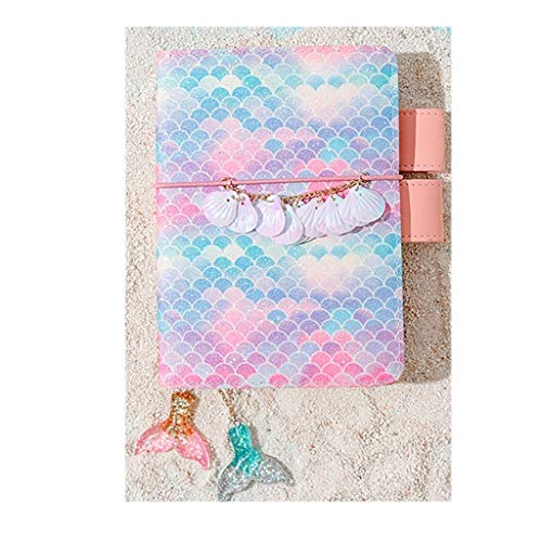 KYAM Libreta Cuaderno Agenda PU portátil Hermosa Diario Pescado Escalas Patrón del Precioso Libro de Escritura Suave Mano Regalo de la Muchacha Diarios para Escribir (Color : Pink)