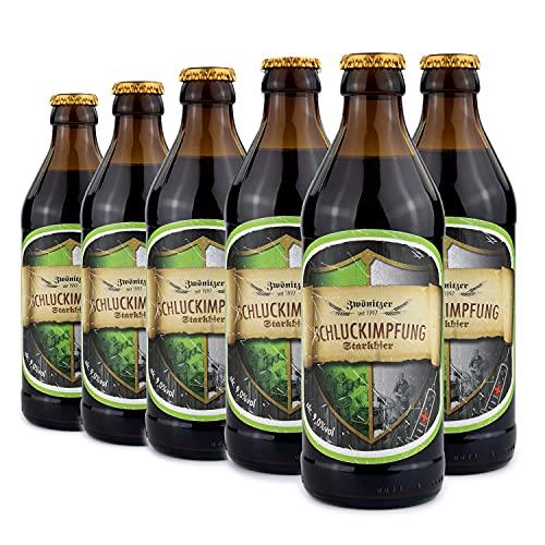 Brauerei Zwönitz Schluckimpfung Starkbier/Bier Geschenk in 6 Flaschen/Strong Beer als Vatertagsgeschenk/Bier Geschenke für Männer/dunkles Bier aus dem Erzgebirge/Craft Beer / 6 × 0,33 l