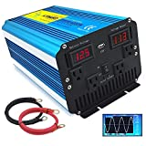 Yinleader 2000w 4000w(Peak) Pure Sine Wave Power Inverter DC 12V to 110V AC Converter with Dual LED Display 4 AC Outlets 1 USB Port for Car RV Caravan Truck Travel Camping, Laptop-Blue (2000w)