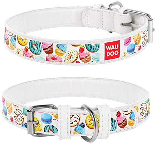 Design Leather Dog Collar for Puppy Small Medium and Large Dogs Donuts - Boy & Girl Leather Dog Collar - Leather Buckle Dog Collar (25 2/10 cm - 32 7/10 cm Neck 7/12 cm Wide, White)