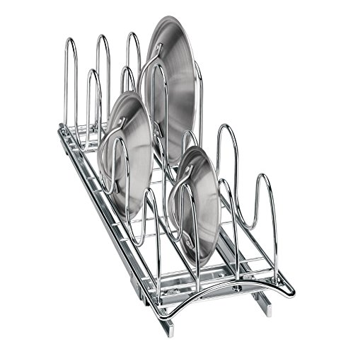 Lynk Professional Slide Out Pan Lid Holder and Pull Out Kitchen Cabinet Organizer Rack, 7.25w x 21d x 9h -inch, Chrome