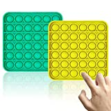 Push Pop Bubble Sensory Fidget Toy Pack For Autistic Children Adult Stress Reliever Silicone Squeeze Sensory Toy Finger Exercise Brain Training Autism Special (Square, Green+Yellow)