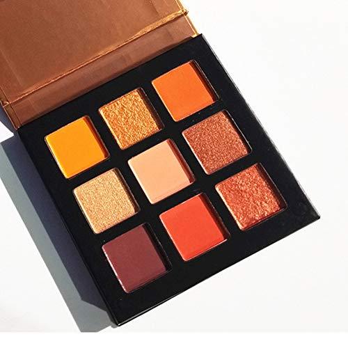 Pressed Eyeshadow Palette,ROMANTIC BEAR Kit de mini fard à paupières professionnel de palette de maquillage métallisé scintillant de 9 couleurs (Orange)