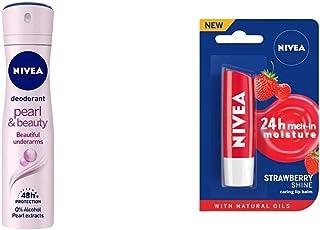 NIVEA Women Deodorant, Pearl & Beauty, for Beautiful Underarms & 48h Protection, 150 ml & Nivea Lip Care, Fruity Shine Str...