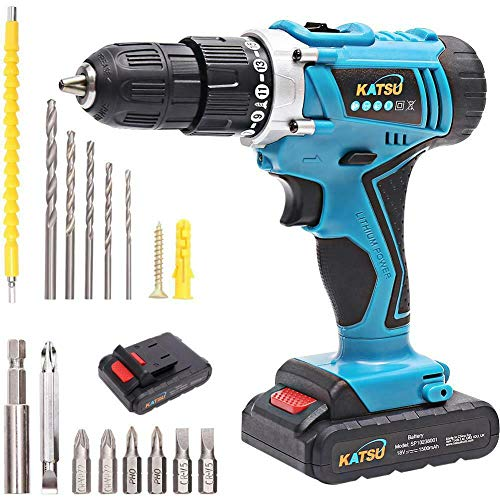 KATSU Cordless Combi Drill with Impact 18V and Accessories Kit + Flexible Shaft + Double Ended Bit + 5 Drill Bits + 6 Screwdriver Bits with 1 Extension + 2 Li-ion Batteries 1.5Ah + Charger + Case