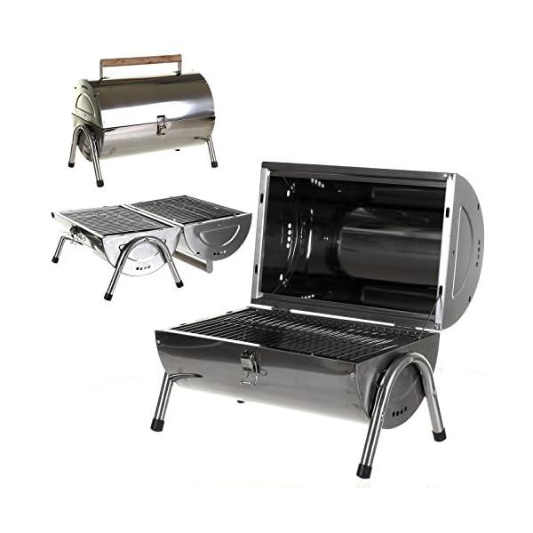 Marko Silver Portable Barrel BBQ Barbecue Steel Table Top Outdoor Garden Camping Picnic 1
