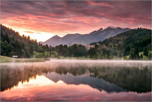 Poster 60 x 40 cm: Sonnenaufgang in den Alpen von Andreas Wonisch - hochwertiger Kunstdruck, neues Kunstposter