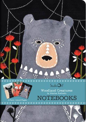 Notizbuch Trio von Studio Oh! – 3er-Set – Marissa Redondo Woodland Creatures – 14,6 x 21 cm – 3 aufeinander abgestimmte Karton-Designs – 80 linierte Seiten – für Schule, Arbeit und Zuhause