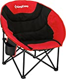 KingCamp Camping Folding Moon Chair with Cup Holder and Back Pocket Support Up