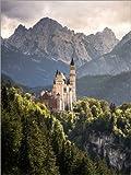 Poster 60 x 80 cm: Schloss Neuschwanstein vor den Bergen