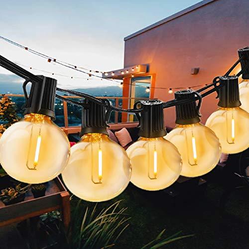 Svater Catena Luminosa Esterno, 50FT/15M Catena luminosa interno LED Esterno con 50 G40 Bulbi, Vintage Luce per Patio All'Aperto Giardino Festa Decorazione di Esterni Interni