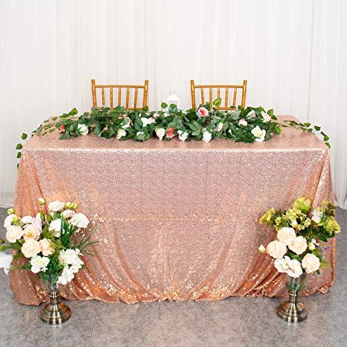 Mantel de Lentejuelas de Oro Rosa de 90x132 Pulgadas manteles rectangulares decoración de la Cubierta de la Mesa para la Fiesta Mantel de Oro Rosa Mantel de Boda superposición de Lino