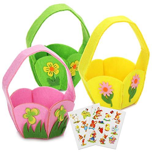 COM-FOUR® 26-delige decoratie & cadeauset voor Pasen - kleurrijke viltjesmanden en zelfklevende stickers met Pasen-motieven - perfect voor paaseieren (26 stuks - viltmand met sticker)