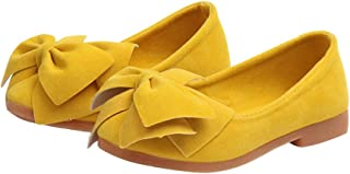 Hopscotch Baby Girls PU Bow Applique Ballerinas in Yellow Color