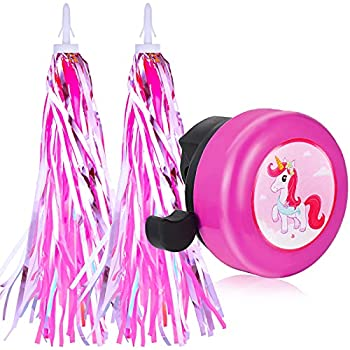 Tinideya Kids Bike Bell and Pink Streamers for Girls 1 Pack Bicycle Bell with 5 Crystal Drop Rubber Stickers and 1 Installation Tool Handlebar Streamers Scooter Tassels Bike Accessories