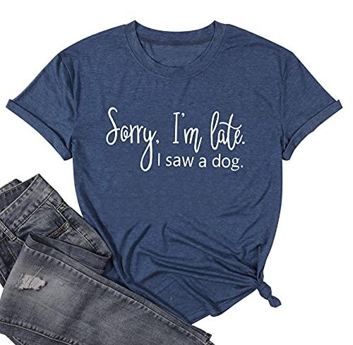 Camisetas para mujer con texto en inglés 'I'm Late I Saw A Dog', Azul / Patchwork, S