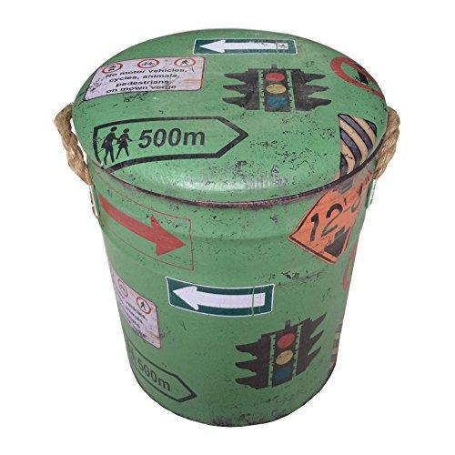 Rebecca SRL Contenitore Sgabello con Coperchio PVC Metallo Verde Tondo Retro Ingresso Sala Decorazione Casa (RE4860)