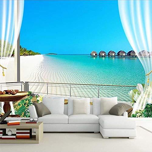 Fototapete 3D Malediven Fenster Balkon Strand Meerblick Wandtapete Wanddekoration Design Wanddekoration Wandbild Wohnzimmer Schlafzimmer Büro Flur Tapete Wandbild,250X175CM(WxH)