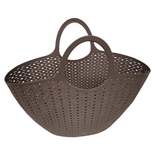 F&S multifunctionele tas van kunststof tas shopping bag strandtas rotan-look gebreide look