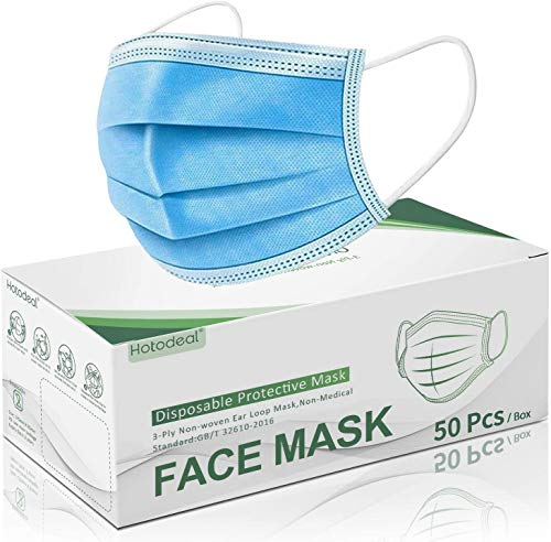 Hotodeal 50 Pcs Disposable Face Masks, Breathable Face Mask 3 Layer Protection Best Facemask, Lightweight Dust Protective Facial Masks Bulk for Adult, Men, Women, Indoor, Outdoor Use