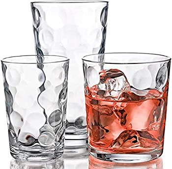 Glassware Set 18 Piece Mixed Drinkware Set of 6 Tumblers 17 oz Set of 6 Rock 13 oz and Set of 6 Juice 7 oz Home Essentials & Beyond Glass Cups Drinking Glasses.