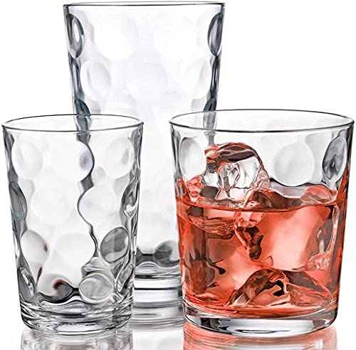 Glassware Set 18 Piece Mixed Drinkware. Set of 6 Tumblers 17 oz., Set of 6 Rock 13 oz. and Set of 6...