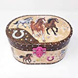 Hot Focus Dashing Pferd Ovale Form Musical Jewelry Box -