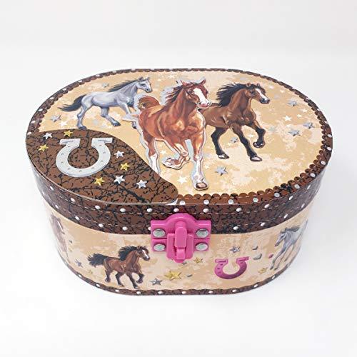 Hot Focus Dashing Horse Oval Shaped Musical Jewelry Box Arizona