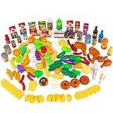 Kinderplay 120 Pezzi Giocattoli Alimentari, Cibo Giocattoli Accessori Cucina Gioco Educativo di Ruolo con Frutta e Verdura, Regalo Perfetto per Bambini Oltre 3 Anni